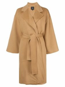 Theory belted oversized coat - Brown