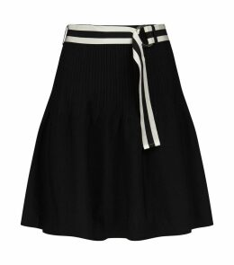Belted Ribbed Skirt