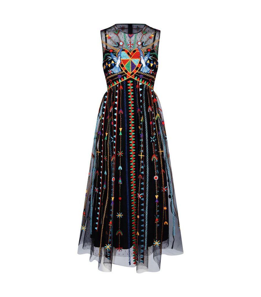 Embroidered Love Midi Dress
