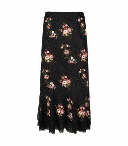 Orchidea Embellished Lace Midi Skirt