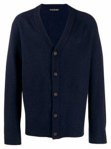 Acne Studios face patch v-neck cardigan - Blue