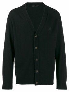 Acne Studios face patch v-neck cardigan - Black