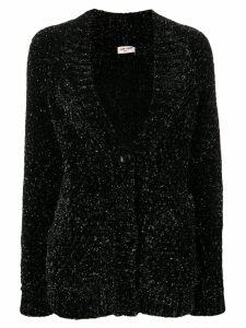 Saint Laurent metallic v-neck cardigan - Black