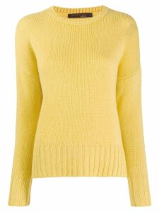 Incentive! Cashmere ribbed trim jumper - Yellow
