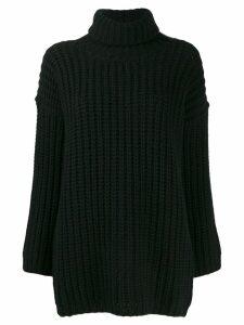 Incentive! Cashmere waffle-knit turtleneck jumper - 99 Black