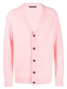 Acne Studios face patch v-neck cardigan - Pink