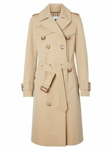 Burberry Leather D-ring Detail Cotton Gabardine Trench Coat - Neutrals