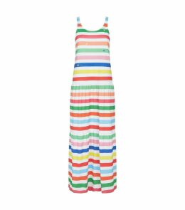 Cotton Embroidered Striped Dress