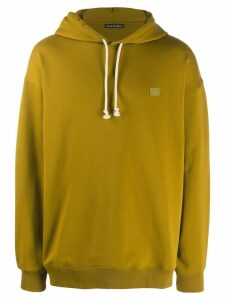 Acne Studios face motif patch hoodie - Green
