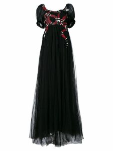 Gucci snake embroidered tulle gown - Black