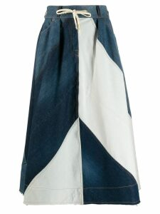 Acne Studios midi colour block skirt - Blue