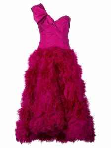 Marchesa one shoulder flared dress - Purple
