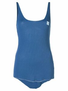 Off-White logo patch ribbed tank top - Blue