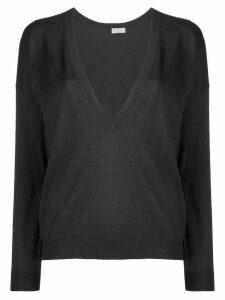 Brunello Cucinelli lamé V-neck sweater - Black