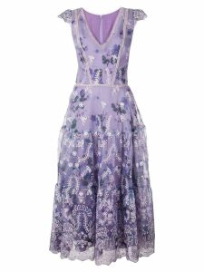 Marchesa Notte floral A-line dress - Purple