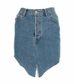 Side-Cut Denim Skirt