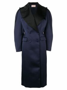 Christopher Kane satin double breasted coat - Blue