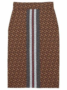 Burberry Monogram Stripe Print Stretch Jersey Pencil Skirt - Brown