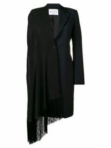 Sonia Rykiel fringed single-breasted coat - Black