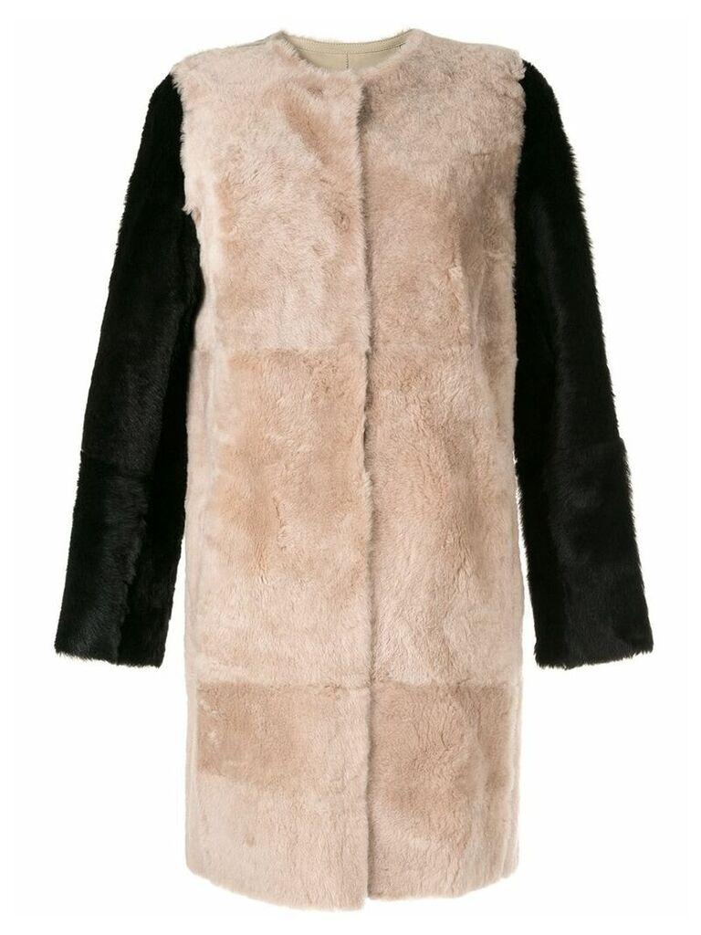 Yves Salomon colour-block coat - Brown