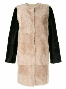 Yves Salomon colour-block coat - Brown