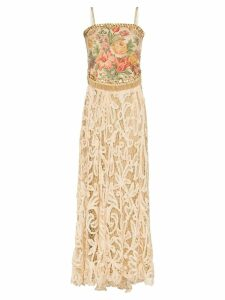 One Vintage floral-tapestry lace gown - Neutrals