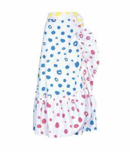 Polka Dot Ruffled Midi Skirt