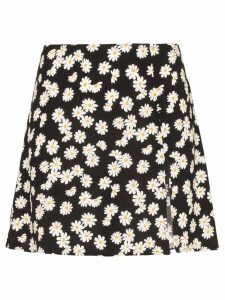 Reformation Margot daisy print mini skirt - Black