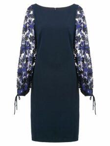 Badgley Mischka floral pattern dress - Blue
