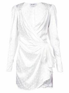 Attico star print wrap dress - White