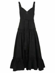 Proenza Schouler Sleeveless Tiered Cotton Poplin Dress - Black