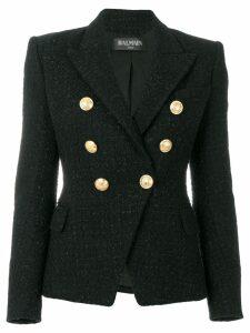 Balmain button-embellished tweed jacket - Black