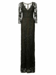 Marchesa Notte long floral lace gown - Black