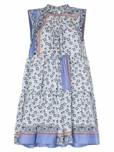 Chloé Bandana print tiered mini dress - Blue