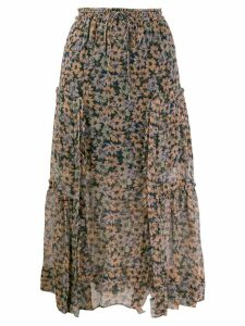 Coach floral skirt with front slits - Blue