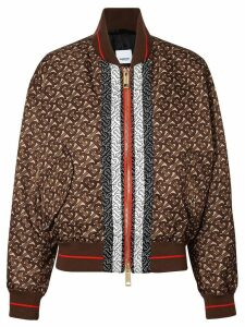 Burberry Monogram Stripe Print Nylon Bomber Jacket - Brown