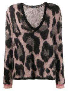 Luisa Cerano fuzzy leopard pattern jumper - Black