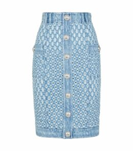 Cut-Out Denim Midi Skirt