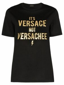 Versace slogan cotton T-shirt - Black