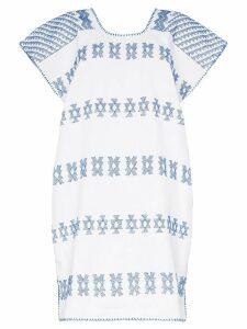 Pippa Holt white and blue embroidered kaftan mini-dress