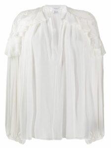 Giambattista Valli ruffle trim chiffon blouse - Neutrals
