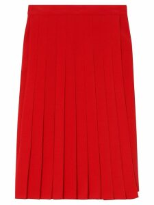 Burberry Stretch Cady Pleated Skirt - Red