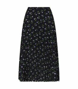 Tulip Print Pleated Skirt