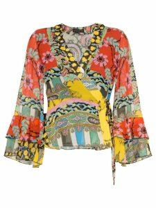 Etro mixed floral-print wrap blouse - Multicolour