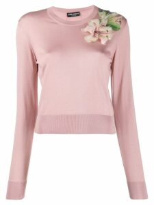 Dolce & Gabbana floral embroidered sweater - Pink