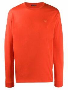 Acne Studios face patch long-sleeved T-shirt - Orange