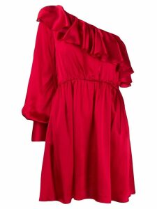 MSGM ruffle detail one shoulder dress - Red