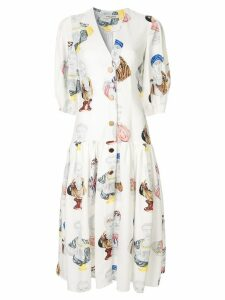 Tata Naka printed midi dress - White