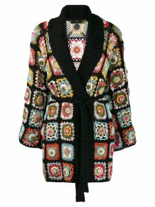 Alanui crochet mid-length cardi-coat - Black