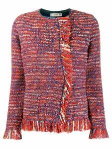 Etro fringed tweed jacket - Blue